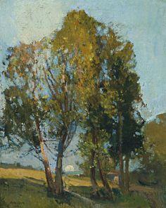 Moonrise through the trees - Sidney Long Australian, 1871-1955 oil on canvas, 50.0 x 40.0 cm.
