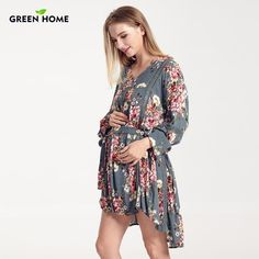 7afad11bbb3 Green Home Summer New Arrival Maternity Dress Floral Print Long Sleeve For  Pregnancy Women Clothes Breastfeeding