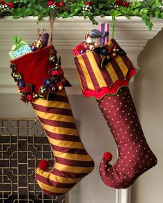 """""""Marzipan"""" Christmas Stockings by MacKenzie-Childs at Neiman Marcus."""