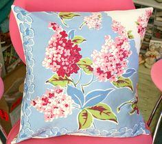 Vintage Tablecloth Pink Lilacs Pillow Cover by georgiapeachez