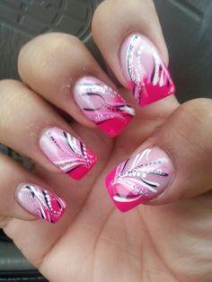 Line Nail Art Designs Unique More Lines Nails ♥ In 2019 Pint Cute Acrylic Nails, Gel Nail Art, Acrylic Nail Designs, Line Nail Designs, French Tip Nail Designs, Pretty Nail Art, Beautiful Nail Art, French Nails Diy, Fancy Nails