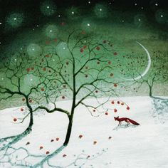 "PACK OF 8 CHARITY CHRISTMAS CARDS decorated with an illustration of a winter fox entitled ""Apples in the snow"". 49p per pack supports the National Autistic Society. £4.99"