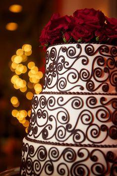Carter Wedding Cake by Eat Cake! (eatcakeonline.com), photo by Aphrodite Photography (aphroditeweddingphotos.com)  #redroses #fallwedding #realwedding