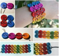 Rainbow Button Bracelet Use elastic to sew them together and they will fit for a long time.