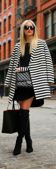 black and white coat mini skirt hand bag