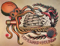 Octopus and Ship in a Bottle Old School por ParlorTattooPrints, $24.00