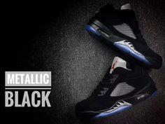 Air Jordan 5 Retro V Low Metallic Black Men Basketball Shoes AAA b717cfb3b