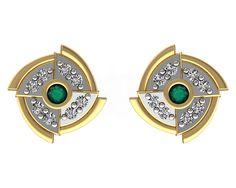 Solid 18k Yellow Gold Emerald Designer Stud Earrings Certified Diamond Jewelry