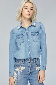 fall-winter - Miss Sixty Denim Button Up, Button Up Shirts, Miss Sixty, Fall Winter, Jackets, Shopping, Tops, Fashion, Down Jackets