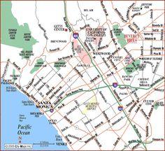 Map of Santa Monica Area | Road Map of Santa Monica (Santa Monica, California) - Aaccessmaps.com