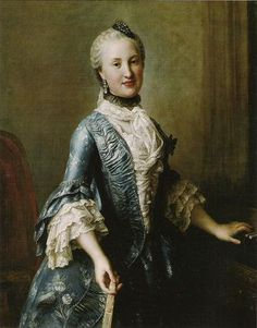 18th c. portrait of a woman. rococo. pagoda sleeves