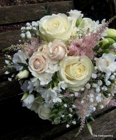 Soft and romantic wedding bouquet by www.theflowersmiths.co.uk
