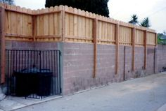 Redwood Fence, Wood Fence Gates, Patio Fence, Brick Fence, Backyard Privacy, Diy Fence, Fence Landscaping, Backyard Fences, Backyard Projects