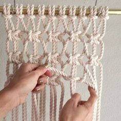 How to Create Crisscross Treasure Mesh // This video shows how to tie Crisscross treasure mesh, I'm not sure if that is the correct/technical name, but I'm going with it. For the sake of time, and to show the full look, I already completed two rows, which I'll explain how to do below. // This video shows them done with ten 8 foot 1/4th inch cords which were attached to the bar using the Larks Head Knot. Since the cords were folded in half and attached, there are now 20 cords. Keep in mind…