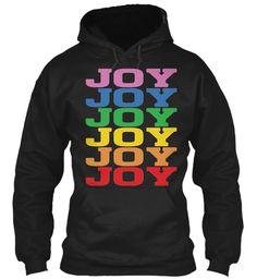 Joy Rainbow Colors Black Sweatshirt Front