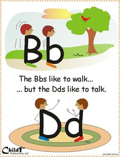 "Dyslexie en Engels Good way to teach how to differentiate between ""b"" and ""d"" Very Clever! Kindergarten Literacy, Early Literacy, Kindergarten Language Arts, Alphabet Activities, Teaching Reading, Fun Learning, Visual Learning, Reading School, Educational Activities"