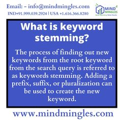 Did You Know? - What is keyword stemming . . . WhatsApp or Call: +91.999.039.2924   USA +1.616.366.8280 Email: - info@mindmingles.com #Like #Follow #Love #SEO #SMO #Instagram #Youtube #Facebook #Twitter #LinkedIn #India #Delhi #Marketing #MindMingles #Branding #DigitalMarketing Best Digital Marketing Company, Prefixes, Do You Know What, S Mo, Design Development, Improve Yourself, Web Design, Branding, Ads