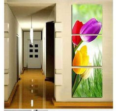 Ideas Home Art Gallery Wall Paint Colors Mural Wall Art, Wall Art Decor, Simple Wall Paintings, Modern Oil Painting, 3 Piece Wall Art, Wall Paint Colors, Canvas Home, Tulips In Vase, Acrylic Painting Canvas