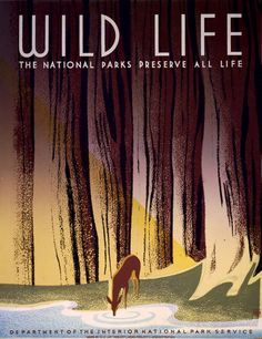 By Frank S. Nicholson, ca 1938, Wild Life,  National Park Service, WPA.