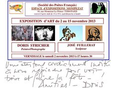 Invitation to all my Pinterest Friends in Paris. Saturday 2 nov. Vernissage 18h.