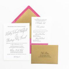 Pink and Gold_Custom Wedding Invitation_Letterpress 1