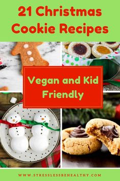 Vegan Christmas cookies are the best! Some are gluten free, made with peanut butter, or completely allergy free. Check out these xmas cookies for you and your kids Chocolate Christmas Cookies, Best Christmas Cookies, Xmas Cookies, Christmas Candy, Christmas Wedding, Gingerbread Cookies, Healthy Vegan Desserts, Vegan Lunch Recipes, Healthy Recipes