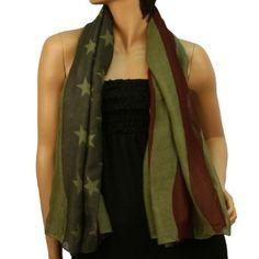 Patriotic American USA Flag Sheer Spring Summer Shawl Scarf Fringe 56 x 44 Olive SK Hat shop. $18.95