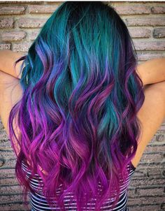 Stratosphere Teal & Magenta color, 23 Incredible Ways to Get Galaxy Hair i. Stratosphere Teal & Magenta color, 23 Incredible Ways to Get Galaxy Hair in Cute Hair Colors, Pretty Hair Color, Bright Hair Colors, Beautiful Hair Color, Hair Dye Colors, Hair Color For Black Hair, Teal And Purple Hair, Colorful Hair, Hair Styles With Color