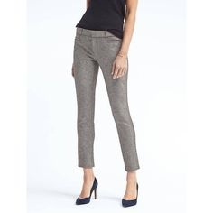 Banana Republic Womens Sloan Fit Charcoal Pant ($98) ❤ liked on Polyvore featuring pants, capris, charcoal, ankle length pants, tall white pants, long pants, banana republic pants and short pants
