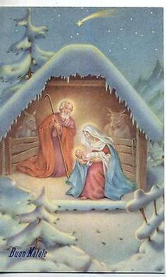 BERTOGLIO Buon Natale S. Giuseppe & Madonna con Gesù bambino PC Circa 1930
