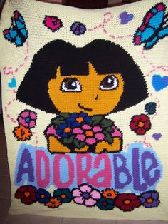 Crocheted Dora Blanket by TwoLoopyHookers on Etsy, $80.00