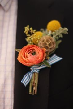 """Miss Pickering's buttonholes are to die for. I'm officially adopting """"buttonhole"""" in place of """"boutonniere"""". Much prettier word, don't you think? Wedding Blog, Fall Wedding, Diy Wedding, Dream Wedding, Wedding Ideas, Wedding Shoppe, Woodland Wedding, Diy Boutonniere, Yellow Boutonniere"""