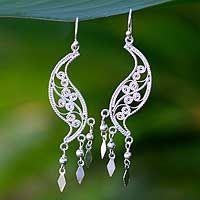 Sterling silver filigree earrings, 'Dancing Leaves' - Sterling Silver Waterfall Earrings