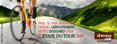 Fournisseur officiel de l'Etape du Tour 2014 - Sherpa offre des dossards gratuits à ses fans Facebook sur simple demande par mail (dans la limite des places disponibles)