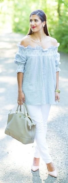 Blue Pinstripes And White Summer Style                                                                             Source