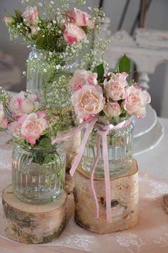 Hochzeitsdeko - Stammset Holz Vasen Hochzeit Vintage - ein Designerstück von majalino bei DaWanda