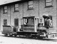 "The Lackawanna Iron & Steel Co.'s narrow gauge camelback locomotive ""Dewey"", which was used in blast furnace service. Date unknown."