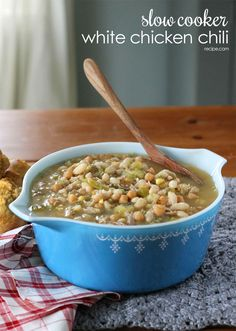 Warm up cold nights with slow cooker white chicken chili.