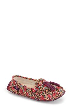 A classic yet feminine floral pattern styles these loafer inspired slippers that are perfect for lounging around the house and keeping the feet warm.
