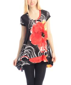 Look at this Red & Black Floral Sidetail Tunic on #zulily today!