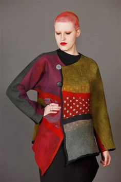 The jacket, not the hair 😬Gallery of Catherine O'Leary Designs – Textile Art and Fashion in Melbourne Textiles, Textile Design, Textile Art, Sewing Clothes, Refashion, Dressmaking, Mantel, Fashion Art, Knitwear