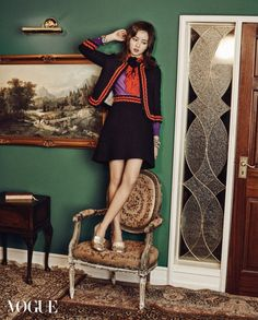 Kim So Hyun & EXO D.O for Vogue February 2016   Kim So Hyun – Gucci Two-Tone Ruffle Blouse ($1400), Gucci Boucle-Tweed Jacket ($2800), Gucci Tweed Skirt ($990), Gucci Gold 'Marmont' Pumps ($870), Bottega Veneta Bracelet