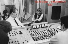 John, Ringo, G. Martin and Altec 605 and console at Abbey Road