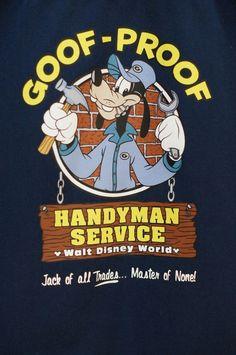 Disney Goofy Goof-Proof Handyman Repairman Mechanic Men Shirt Medium PreOwned  #DisneyWorldExclusive