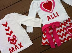 Stinkin' Cute!!    Custom childrens clothing. Girls Valentine twirly skirt & shirt. Red white chevron zig zag and name. Pink red bow hearts. EverythingSorella. $52.50, via Etsy.
