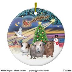 Christmas Magic With Three Guinea Pigs Double-Sided Ceramic Round Christmas Ornament.  Designed by me, Jean B. Fitzgerald.  Thanks for looking!