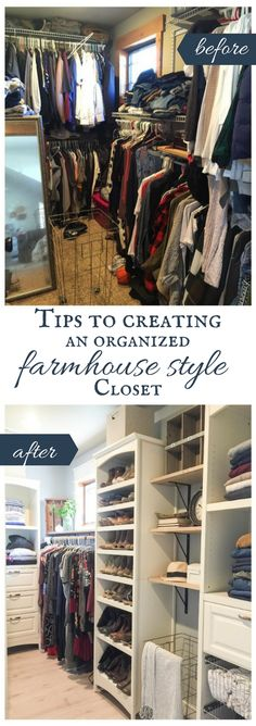 Tips for Organized Farmhouse Style Closet Design Is your closet in need of an update? Try these tips to create a closet design that is organzired and stylish. Bookcase Organization, Bedroom Organization Diy, Organization Ideas, Organizing Tips, Walking Closet, Diy Home, Home Decor, Closet Layout, Master Bedroom Closet