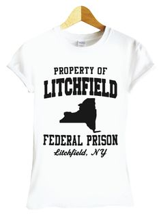 854eb358d63512 Property of Litchfield Prison White T Shirt Womens S M L XL 2XL (Womens  Fitted Size 10 (Large))