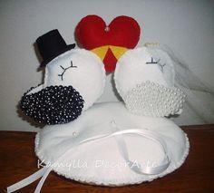 porta alianças - passarinhos apaixonados - Kamylla DecorArte - Artes em Biscuit e Feltro | Buquês e outros itens para casamento