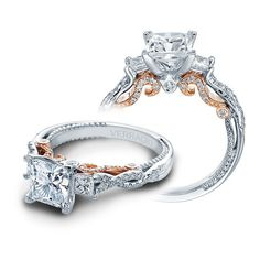 Verragio Insignia 3 Stone Princess Cut with Rose Gold Inlay Engagement... ($4,800) ❤ liked on Polyvore featuring jewelry, rings, two tone ring, twist ring, princess cut ring, two tone band rings and rose gold pave ring